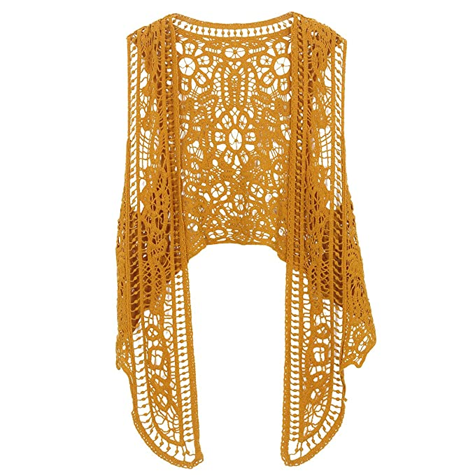 70s Costumes: Disco Costumes, Hippie Outfits Jastie Pirate Curiosity Open Stitch Cardigan Boho Hippie Crochet Vest $12.99 AT vintagedancer.com