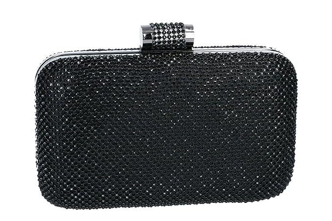 Bolsa mujer MICHELLE MOON pochette negro de mano de ceremonia + strass N936