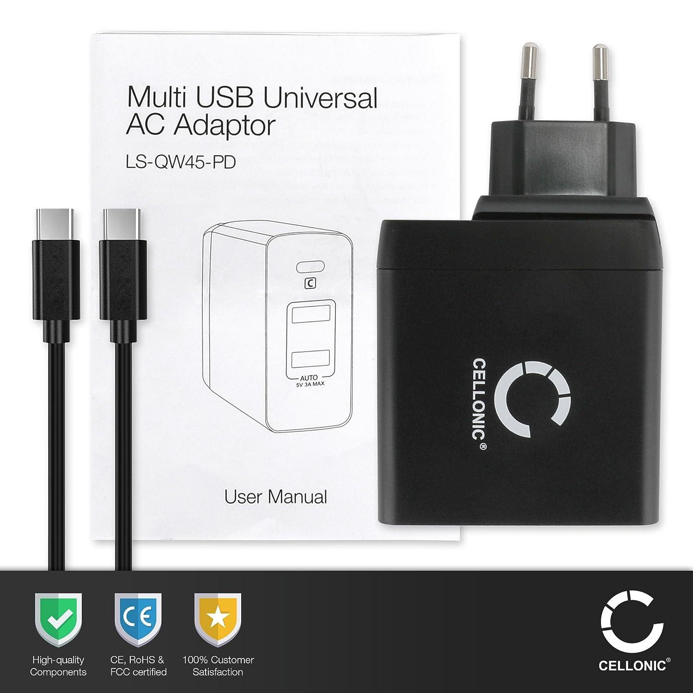 Alimentatore Caricatore Cavo di ricarica nero CELLONIC/® Caricabatteria compatibile con Chuwi Hi10 Plus Hi10 Pro Hi10 Air Hi8 Pro HiBook Pro SurBook mini max. 3A 5V-20V // PD 2.0 // USB C 1m USB-C