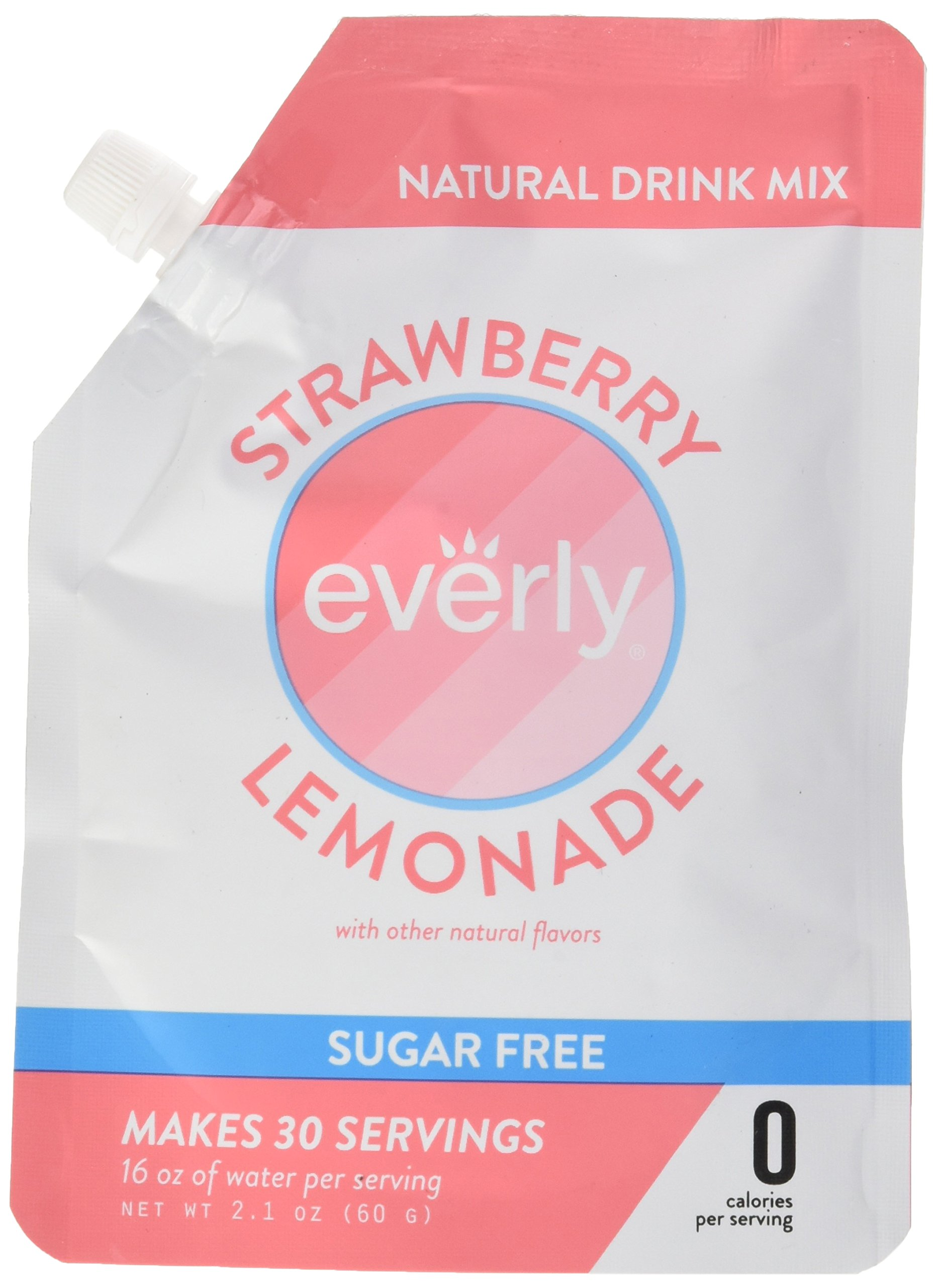Everly Hydration - Affordable, Sugar Free, Low Calorie, Natural Mix Powder, Water Flavoring and Water Enhancer – Pouch, 30 servings - Strawberry Lemonade