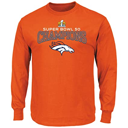 633f4f07 Majestic Athletic Denver Broncos Super Bowl 50 Champs Champions Choice  Orange Long Sleeve T-Shirt