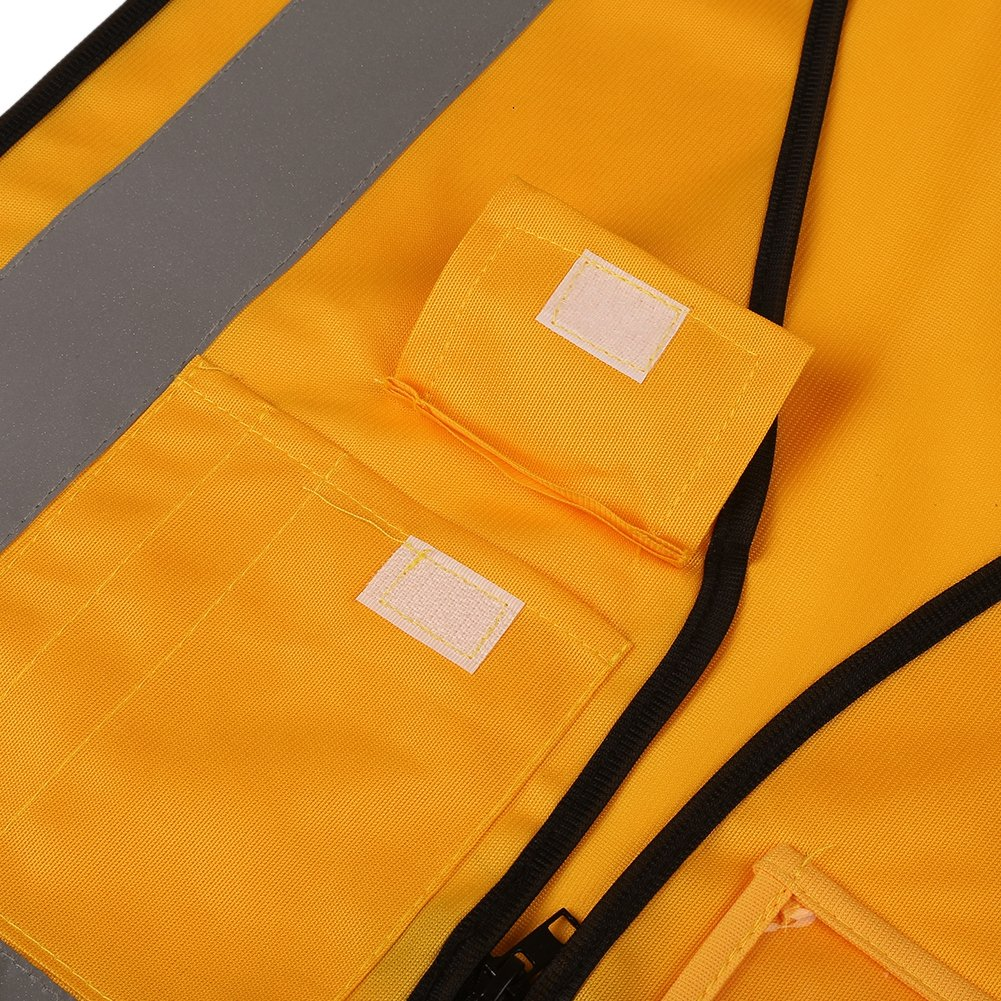 Auto Fluo Gilet Sicurezza Uomo da Lavoro per Unisex Gilet Riflettente con Tasca e Cerniera Arancione #A-L Aesy Gilet Alta Visibilit/à Multi Tasche