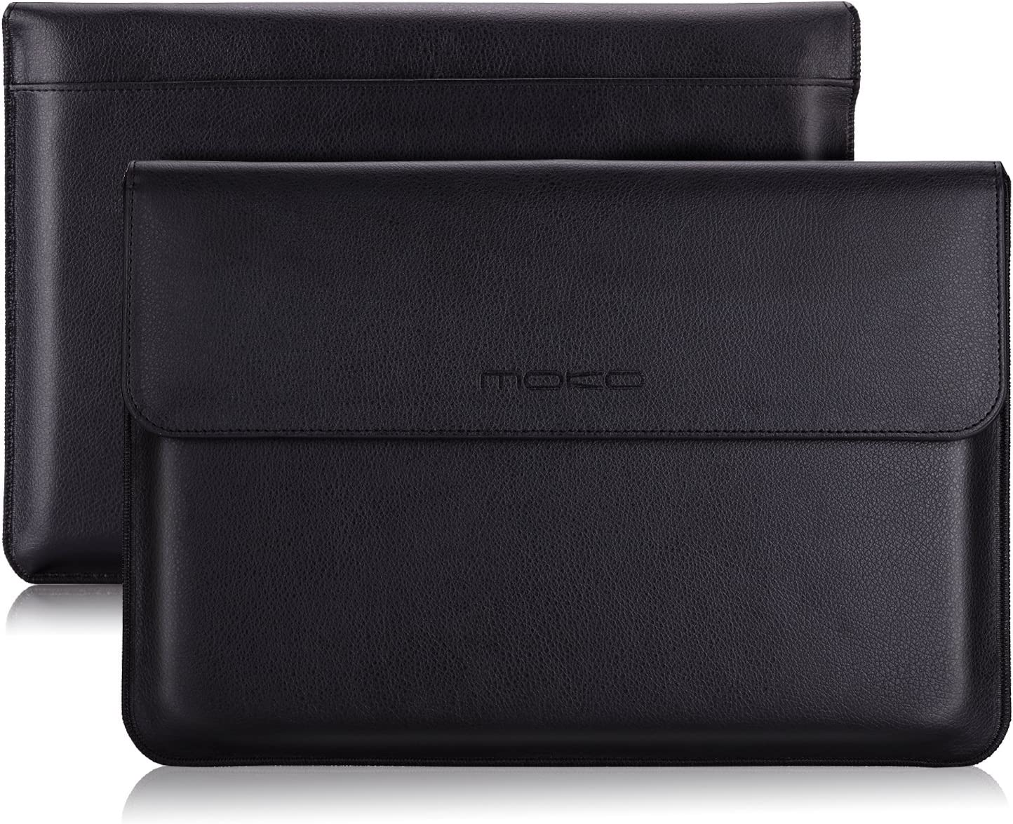 "MoKo Tablet Sleeve Case Bag, PU Leather Protective Laptop Sleeve Compatible with Surface Pro 7/Pro 6/ Pro 5/Pro 4/Pro 3/Pro 12.3/Pro LTE 12.3""/MacBook Air 11.6 Inch, with Pen Holder - Black"