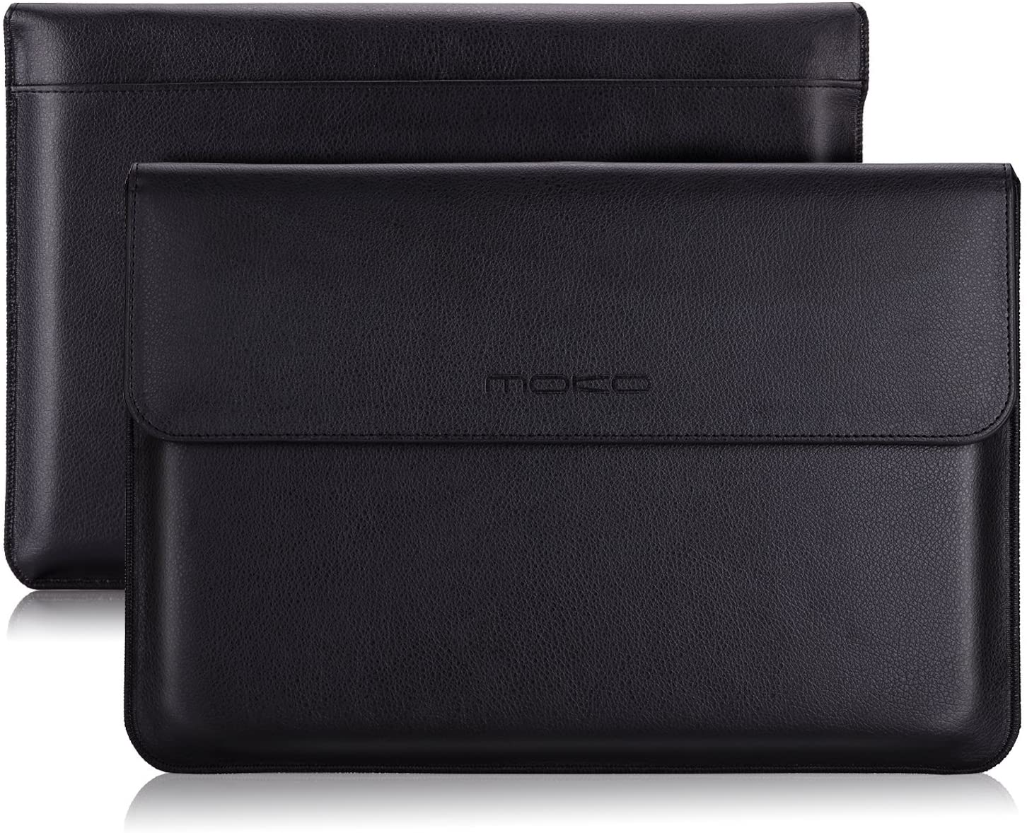 MoKo Laptop Sleeve Case Fits MacBook 12 Inch, Surface 3 10.8, PU Leather Protective Notebook Case Bag with Document Pocket and Built-in Card Slot - Black