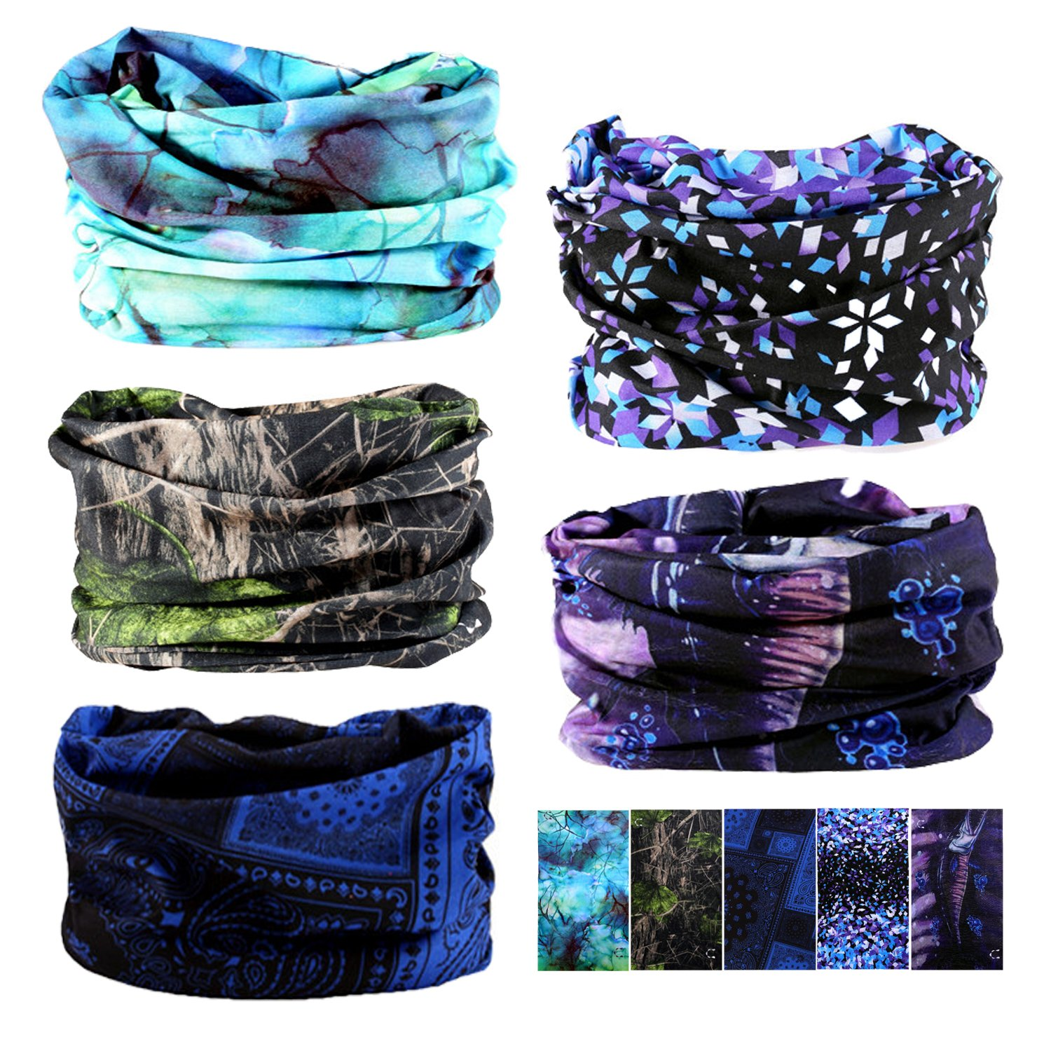 Black series-9pcs Oureamod Wide Headbands for Men and Women Athletic Moisture Wicking Headwear for Sports,Workout,Yoga Multi Function Yoga Multi Function TOUJ1005