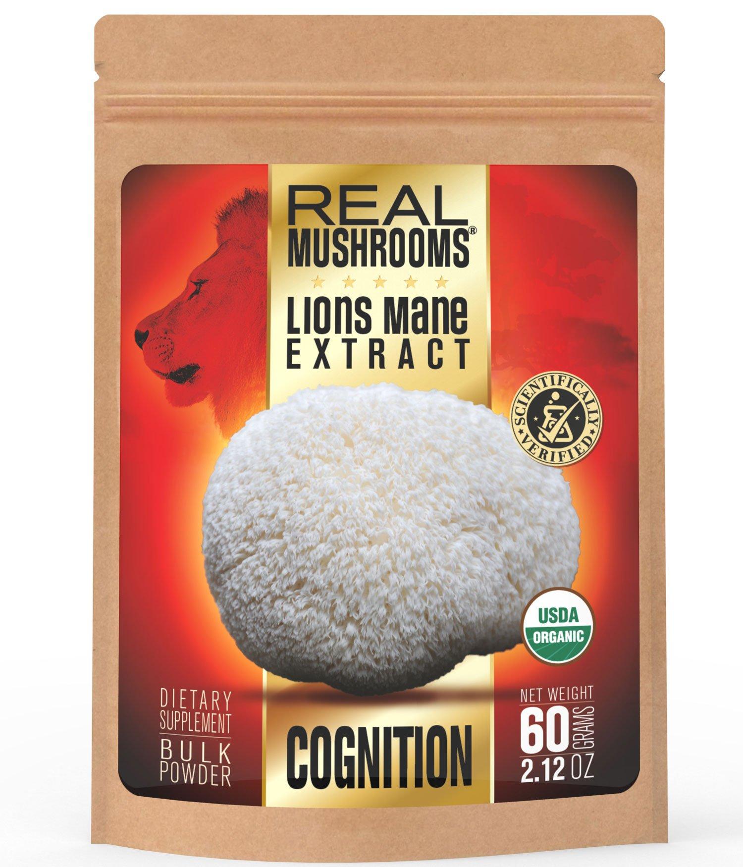 Lions Mane Mushroom Extract Powder by Real Mushrooms - Certified Organic - 60g Bulk Lion's Mane Mushroom Powder - Perfect for Shakes, Smoothies, Coffee and Tea
