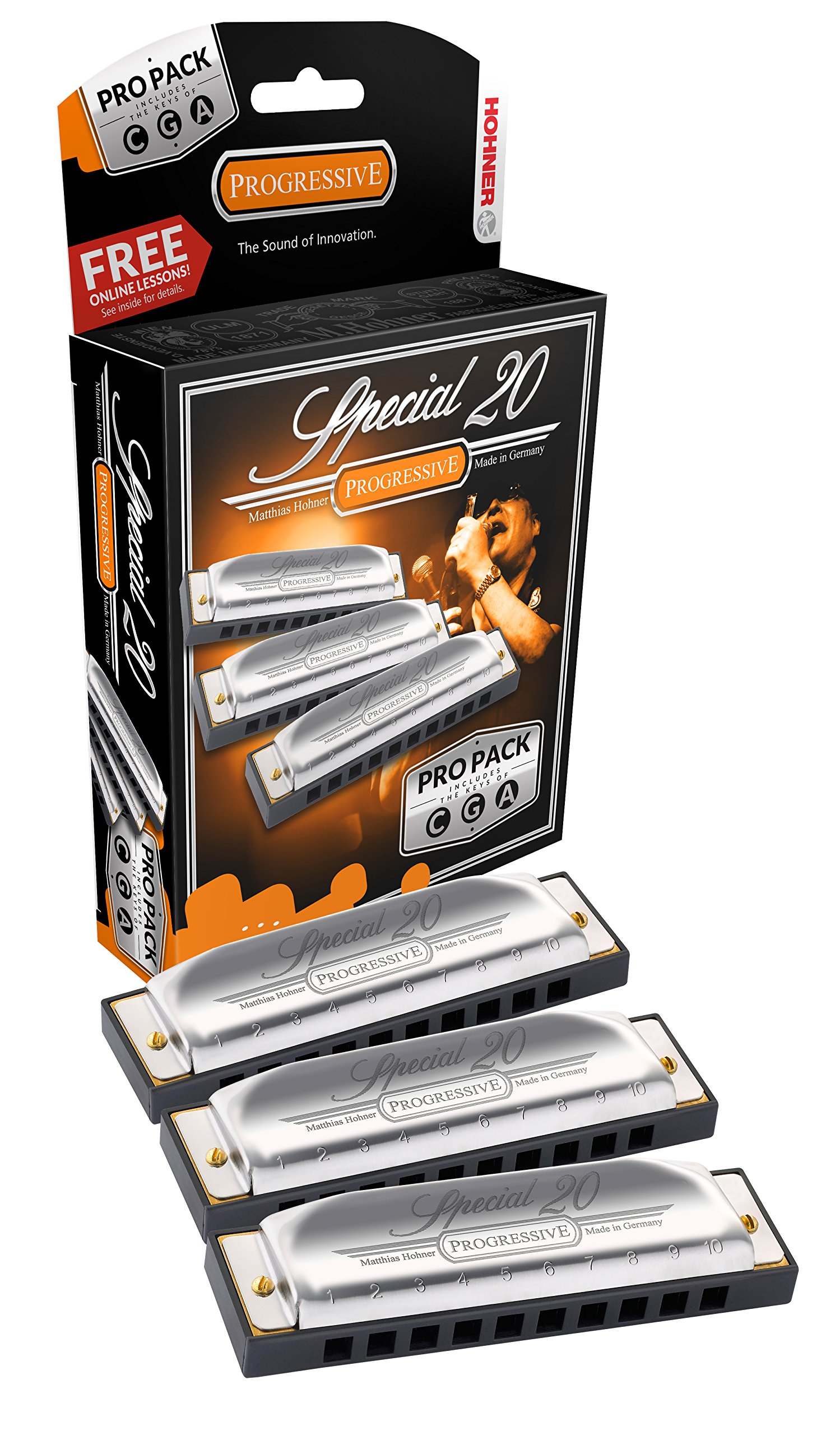 Hohner Special 20 Harmonica 3 piece Pro Pack keys of G,C,A by Hohner