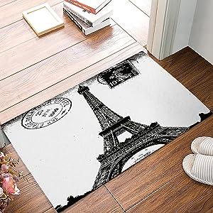 Frech Paris Eiffel Tower City of Love Black White Non-Slip Machine Washable Bathroom Kitchen Decor Rug Mat Welcome Doormat 23.6x15.7inch