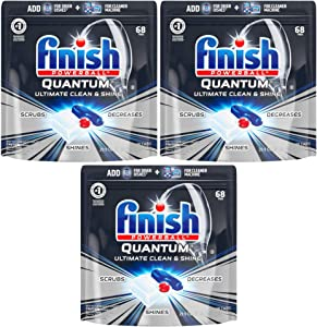Finish - Quantum - 68ct - Dishwasher Detergent - Powerball - Ultimate Clean & Shine - Dishwashing Tablets - Dish Tabs Pack of 3