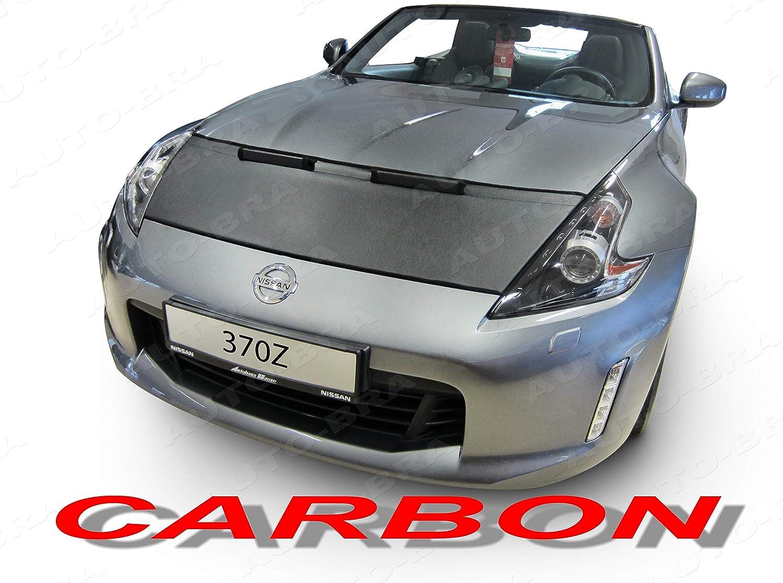 AB3-00424 Carbon Fiber Look Hood Bra fit Nissan 370Z Since 2009 NISMO Front End Nose Mask Bonnet Bra