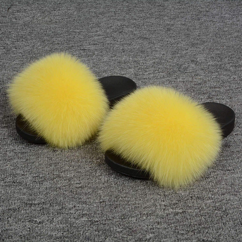 Yellow Blingbling-honored High end Real Fox Fur Slipper Women Slides Sliders Fashion Spring Summer Autumn Fluffy Fur Lady S6018