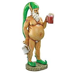 Design Toscano Garden Gnome Statue - Oktoberfest Otto Fully Krausened Elf Gnome - Naughty Gnomes - Drunk Gnome