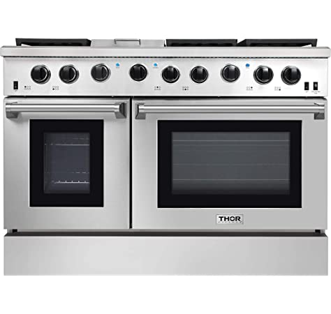 Amazon Com Thor Kitchen Hrg4808u 48 Griddle Gas Range With 6 Burners And Double 4 2 Cu Ft And 2 5 Cu Ft Oven Capacity Stainless Steel Appliances