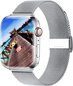 Yaber Stainless Steel Mesh Replacement Band Compatible for Aple Watch 38 mm 40mm 42 mm 44mm Series 6/SE/5/4/3/2/1 (Silver, 42MM/44MM)