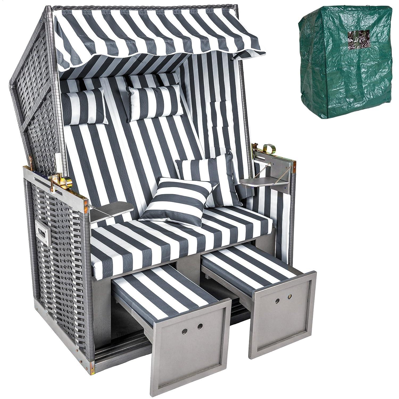 tectake zweisitzer strandkorb premium schutzh lle 2 extra kissen versandkostenfrei. Black Bedroom Furniture Sets. Home Design Ideas