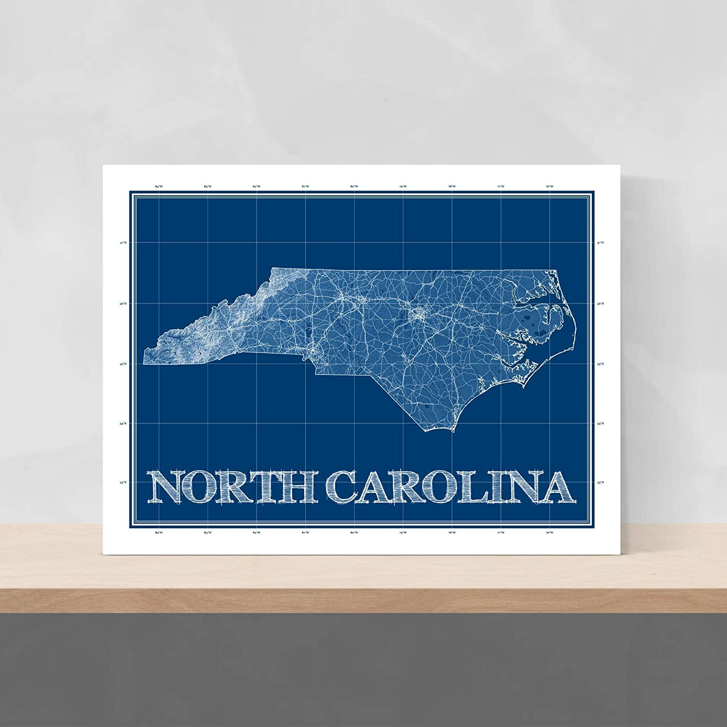 Amazon Com North Carolina Wall Art Print 8x10 Blueprint North Carolina Map Poster 24x36 Handmade Navy Blue North Carolina State Patent Prints North Carolina Gifts By Maps As Art Handmade