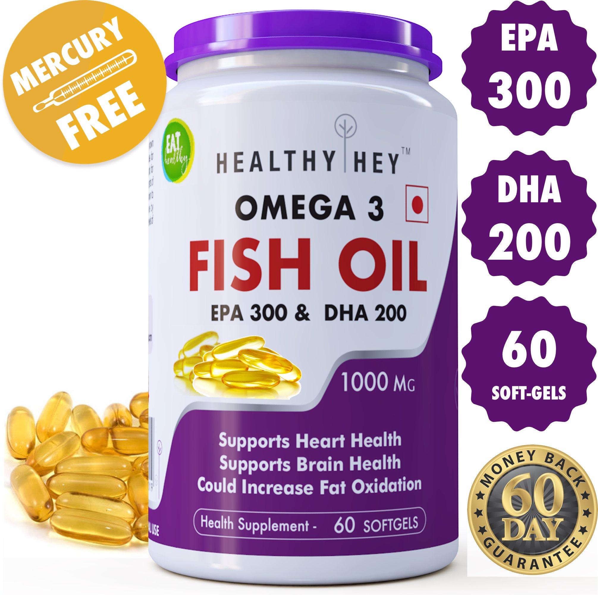 Healthyhey Nutrition Fish Oil - Omega 3 Mercury Free (1000 Mg) Burpless - 60 Softgel product image