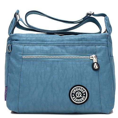 Foino Bolsos de Moda Ligero Bolso Bandolera Mujer Bolsos Grandes Impermeable Bolsas de Viaje Sport Messenger Bag para Escolares