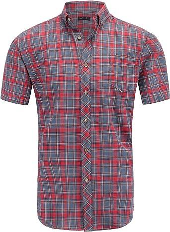 JEETOO Camisa Casual a Cuadros Manga Corta para Hombre: Amazon.es: Ropa y accesorios
