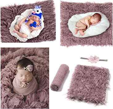 Lila Newborn Wrap Baby Fotoshooting Accessoires Baby Decke Haarband Baby Teppich Knit Wrap f/ür Baby Fotografie Taufe Fotoshootings Comius Sharp 3 St/ücke Neugeborenes Baby Fotografie Requisiten Set