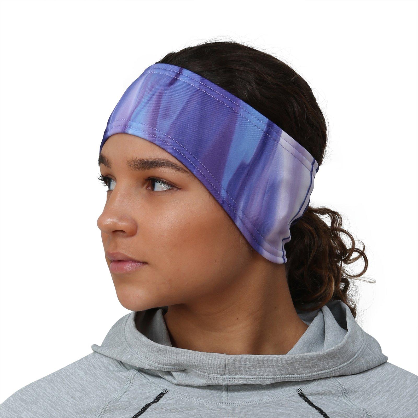 TrailHeads Women's Print Ponytail Headband – 12 prints - Made in USA - purple waves by TrailHeads (Image #1)