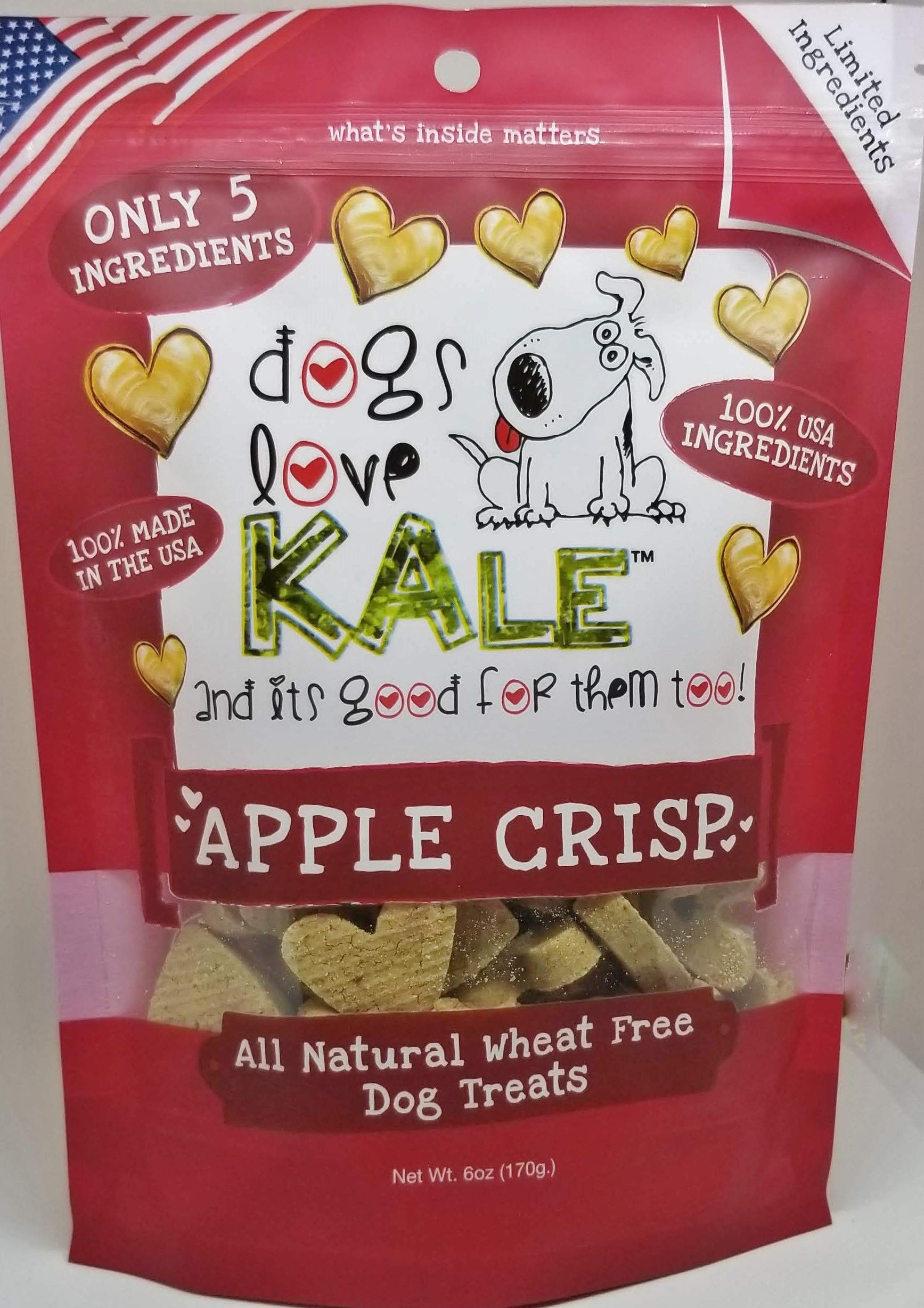 Dogs Love Kale Dog Treats, Apple Crisp, Crunchy Pet Snacks, Organic, Gluten-Free, Corn-Free, And Soy-Free, 6 Calories, 6 Oz. Bags (DLK-00010-12) Case Of 12 Bags by Dogs Love Kale