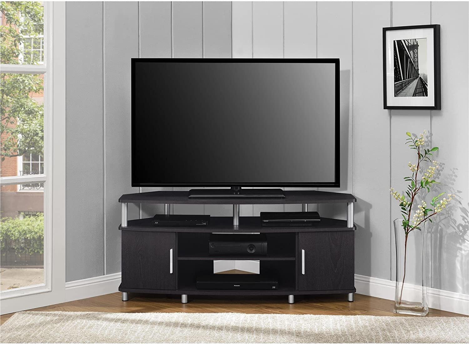 Ameriwood Home Carson Corner Tv Stand For Tvs Up To 50 Black Furniture Decor