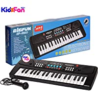 BIGFUN 37 Key Piano Keyboard Toy with Recording and Mic and Mobile Charger Power Option Battery Operated
