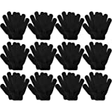 Kids Gloves, 12 Pairs Valentine's Day Winter Knit Gloves Full Finger Stretchy Magic Gloves for Boys and Girls
