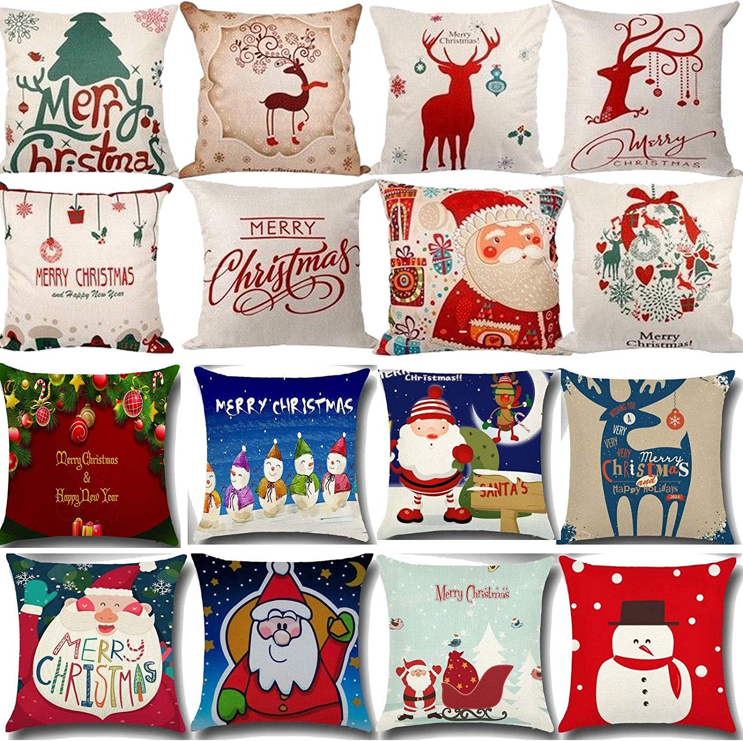 Xmas Cotton Pillow Case Cushion Cover Merry Christmas Home Decoration Gift