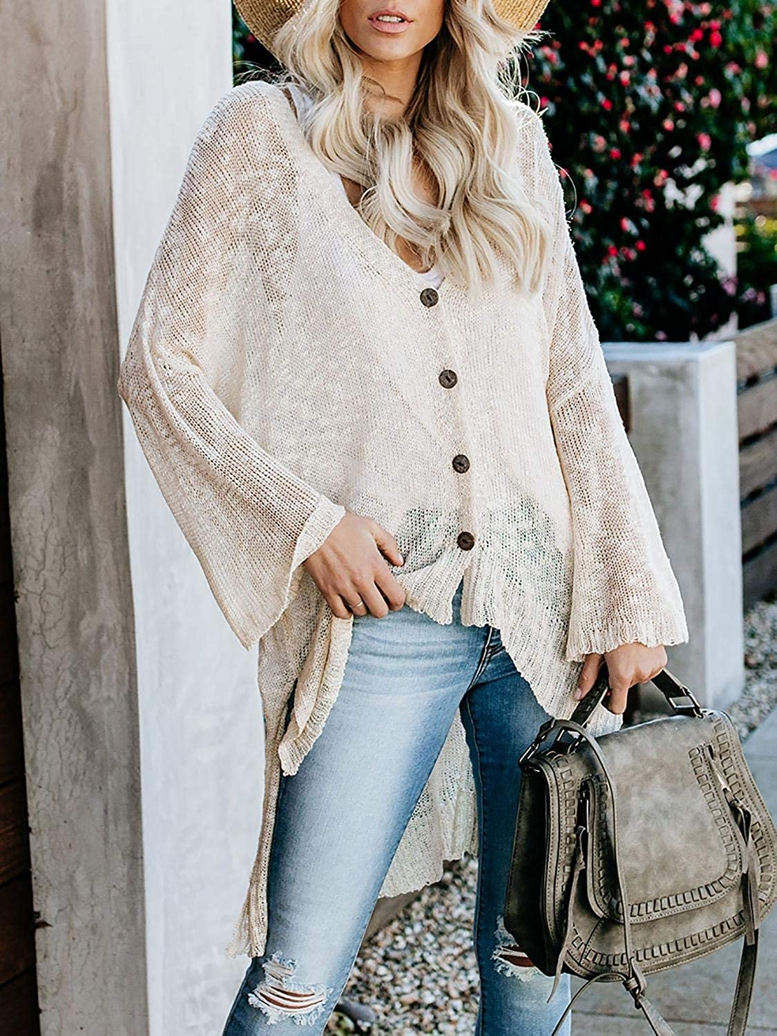 Misassy Womens Summer Boho Button Down Knit Sheer Cardigans Blouse Loose Lightweight Sweater Coat