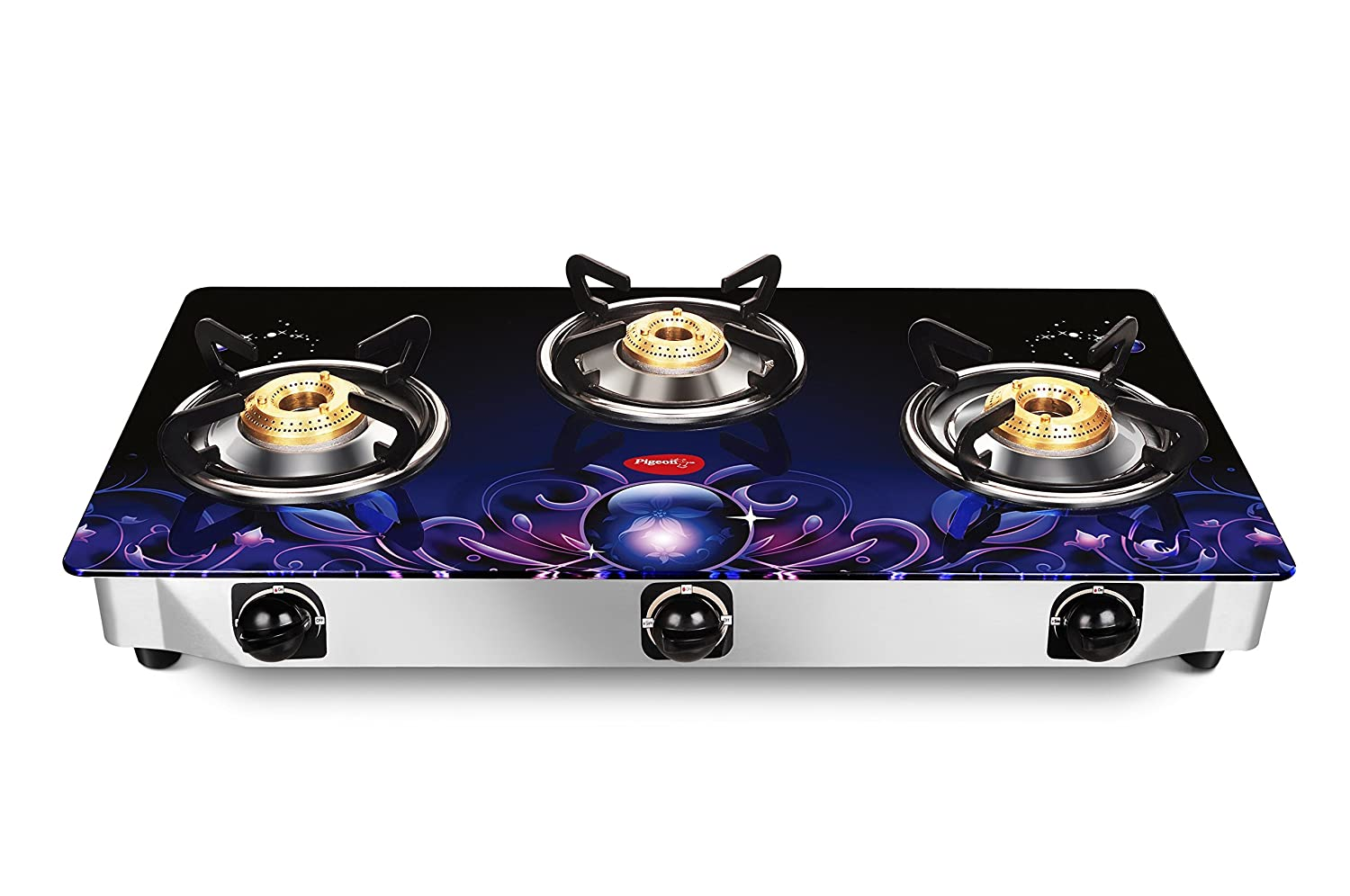 Pigeon By Stovekraft Zeus Glass 3 Burner Gas Stove, Blue