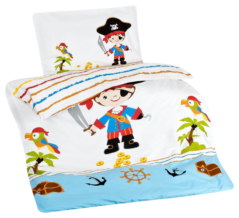 Aminata Kids Kinder-Bettwäsche Piraten Pirat 100x135 cm Jungs Weiss-e hell-blau Piraten-Schatz-Insel Flagge Baumwolle Reissverschluss Totenkopf Wende Piraten-Bettwäsche
