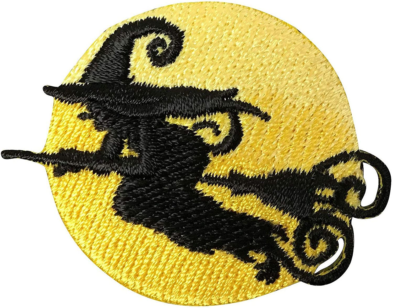 ID 0901B Witches Hat Patch Moon Halloween Treat Embroidered Iron On Applique
