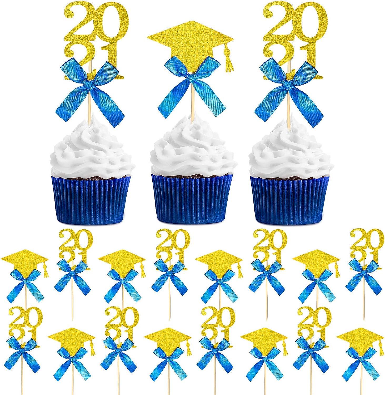 24 Pieces Graduation Cupcake Toppers 2021 Graduate Cake Topper Glittery Congrats Grad Food/Appetizer Picks for 2021 Graduation Party Decorations Grad Party Cake Decor Graduation Cupcake Decor (Blue)