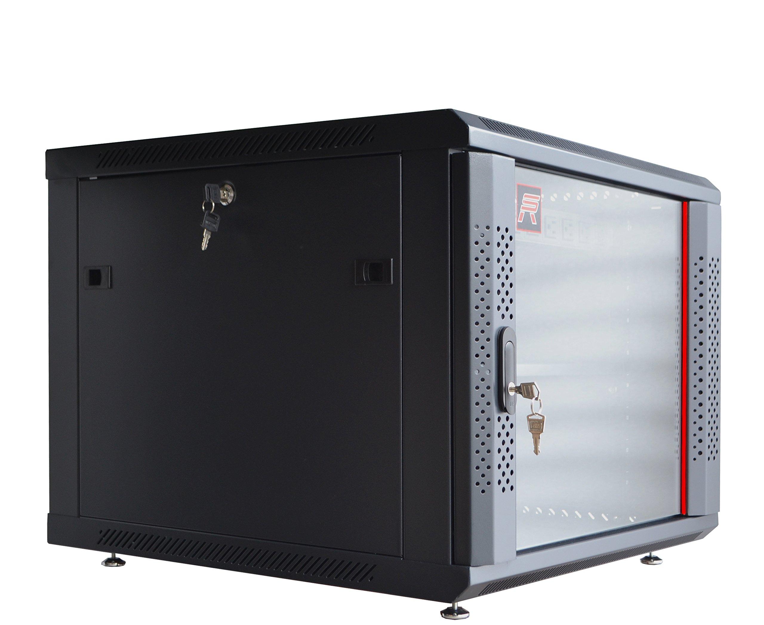9U Server Rack Cabinet Enclosure. ACCESORIES FREE! Vented Shelf, Cooling Fan, Power Strip. Wall Mount 24'' Deep Fully Loaded Lockable Enclosure Box …