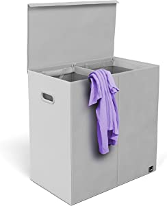 Mindspace Double Laundry Hamper with Lid and Removable Mesh Bags - Woven Canvas Laundry Basket Organization for Bathroom, Bedroom, Kids, Baby - Cool Gray, Oxford Collection