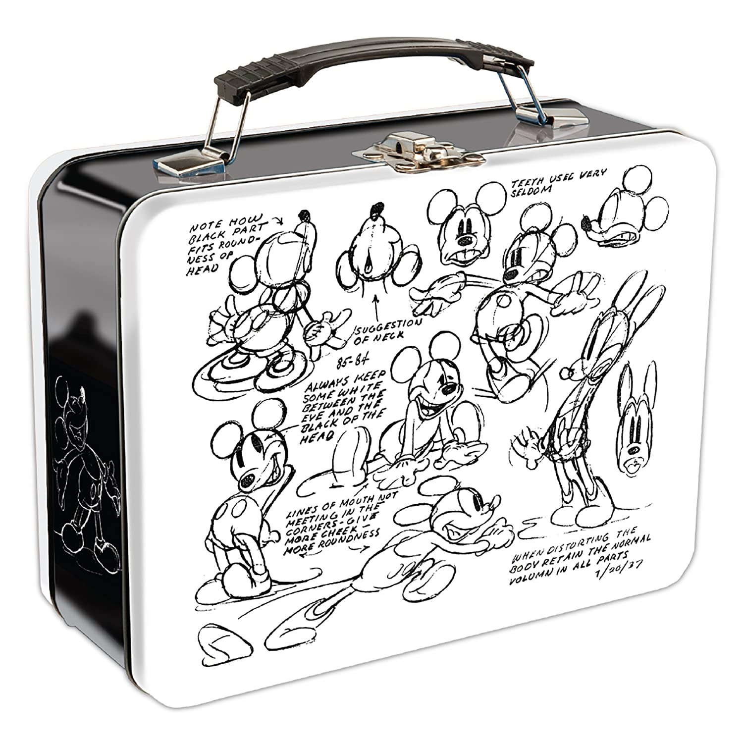 Amazon com vandor 89170 disney mickey mouse sketch large tin tote 9 x 3 5 x 7 5 inches kitchen dining