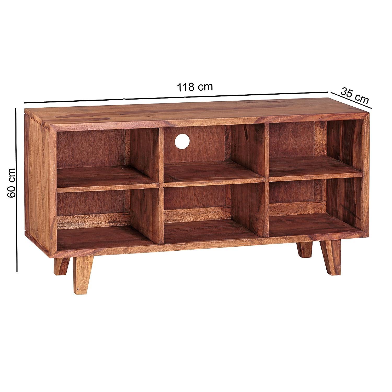 Fabelhaft Hifi Regal Holz Beste Wahl Finebuy Lowboard Massivholz Sheesham Kommode 118 Cm