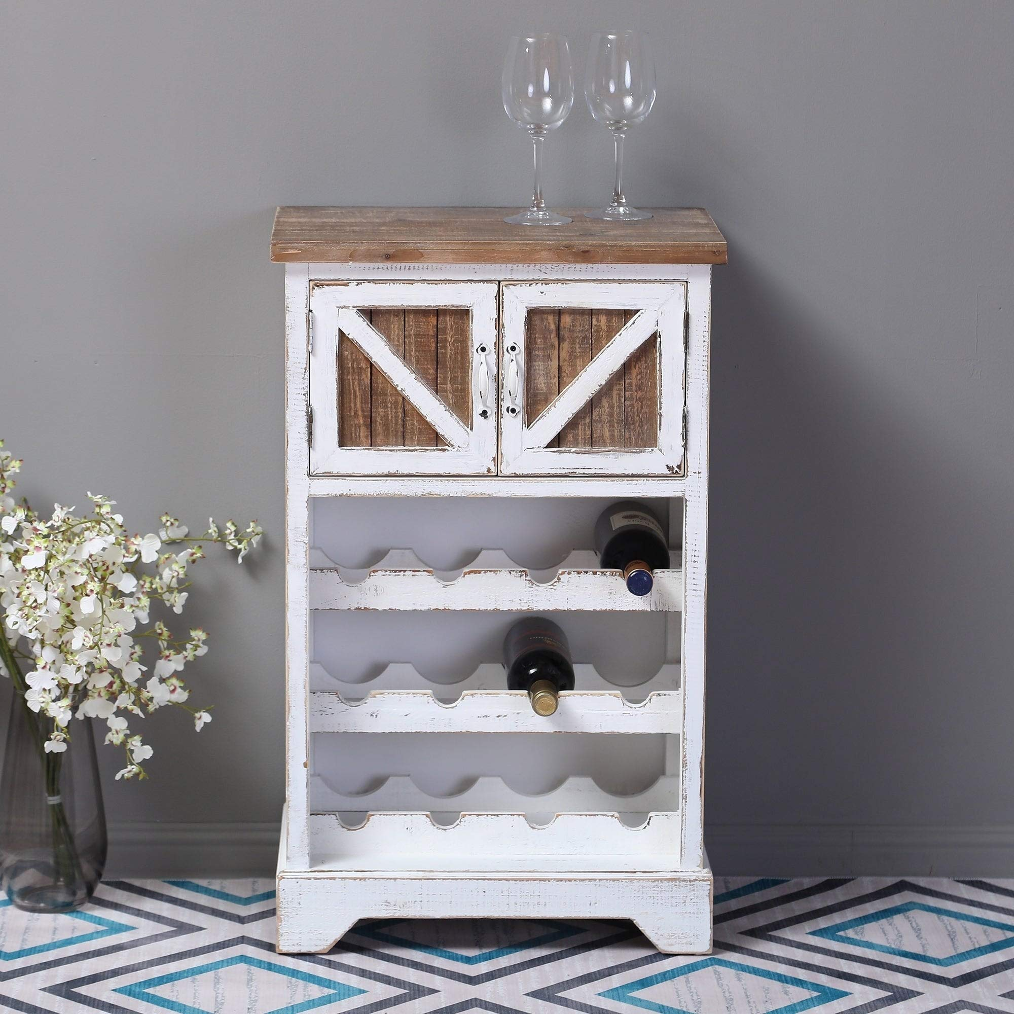 White and Natural Wood Wine Cabinet by Winsome House
