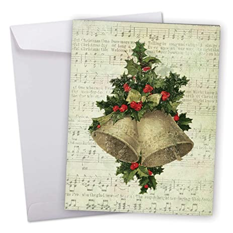 Amazon j6650hxsg jumbo merry christmas greeting card holly j6650hxsg jumbo merry christmas greeting card holly notes featuring festive holiday foliage atop vintage m4hsunfo