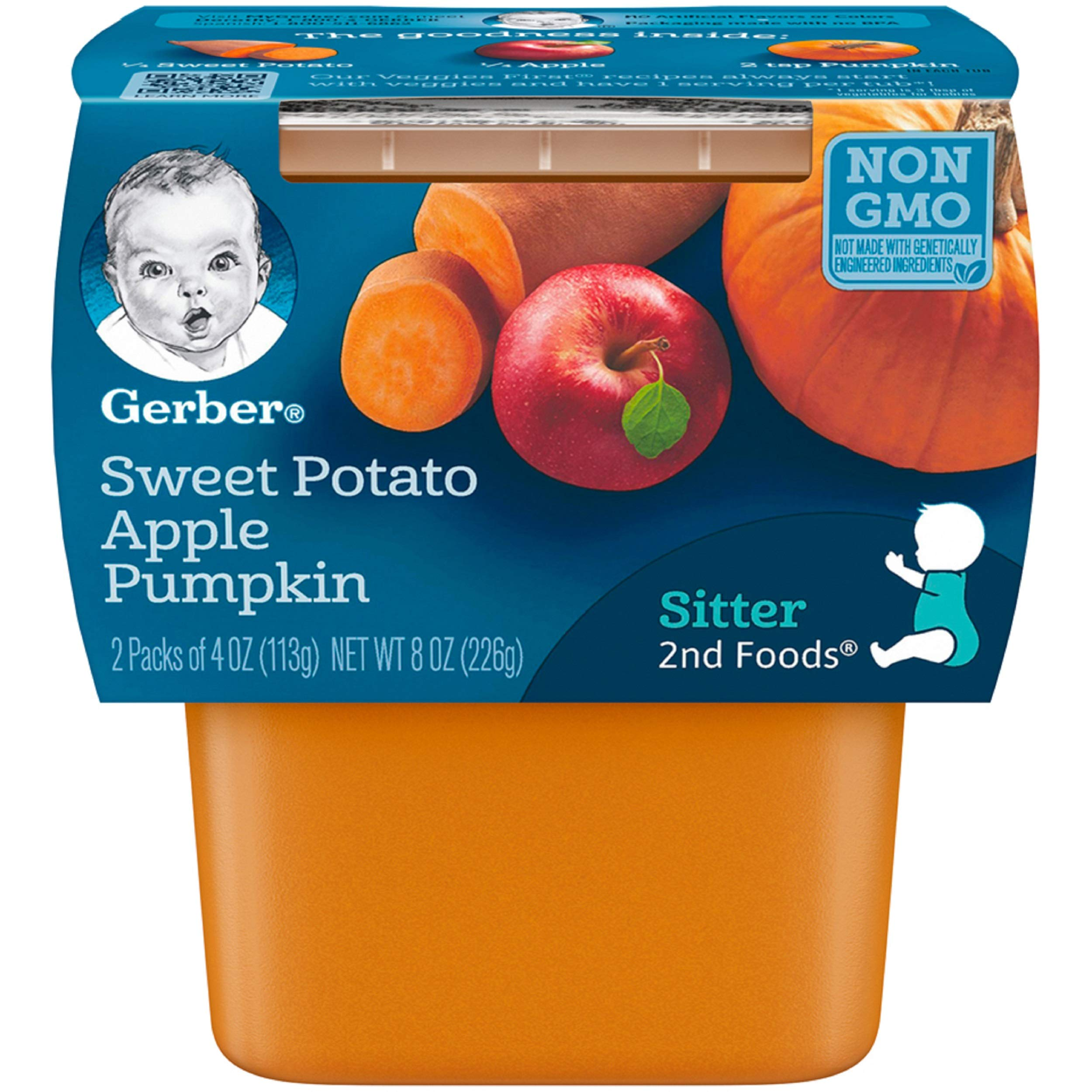 Gerber 2nd Foods Sweet Potato, Apple & Pumpkin Pureed Baby Food, 4 Ounce Tubs, 2 Count (Pack of 8) by Gerber