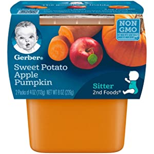 Gerber 2nd Foods Sweet Potato, Apple & Pumpkin Pureed Baby Food, 4 Ounce Tubs, 2 Count (Pack of 8)