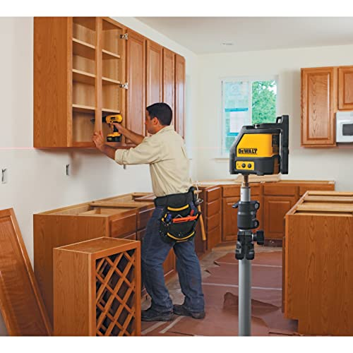 Laser levels help quickly leveling the cabinets