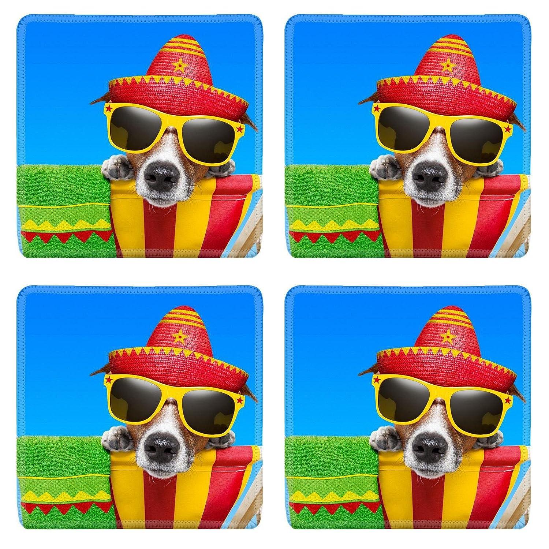Luxladyスクエアコースターノンスリップ天然ゴムデスクコースターイメージID : 20900251 Mexican犬on Vacation Relaxing On A Deck Chair   B07D1X9FCR