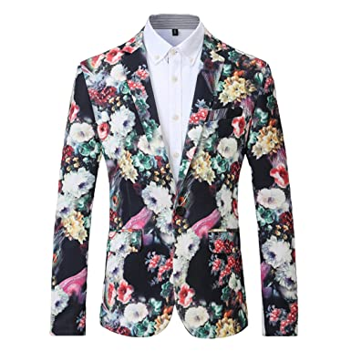 Amazon.com: allonly Hombres la moda floral solapa de pico ...