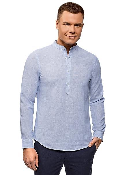 oodji Ultra Hombre Camisa de Lino con Cuello Mao  Amazon.es  Ropa y  accesorios c0df3b3482d