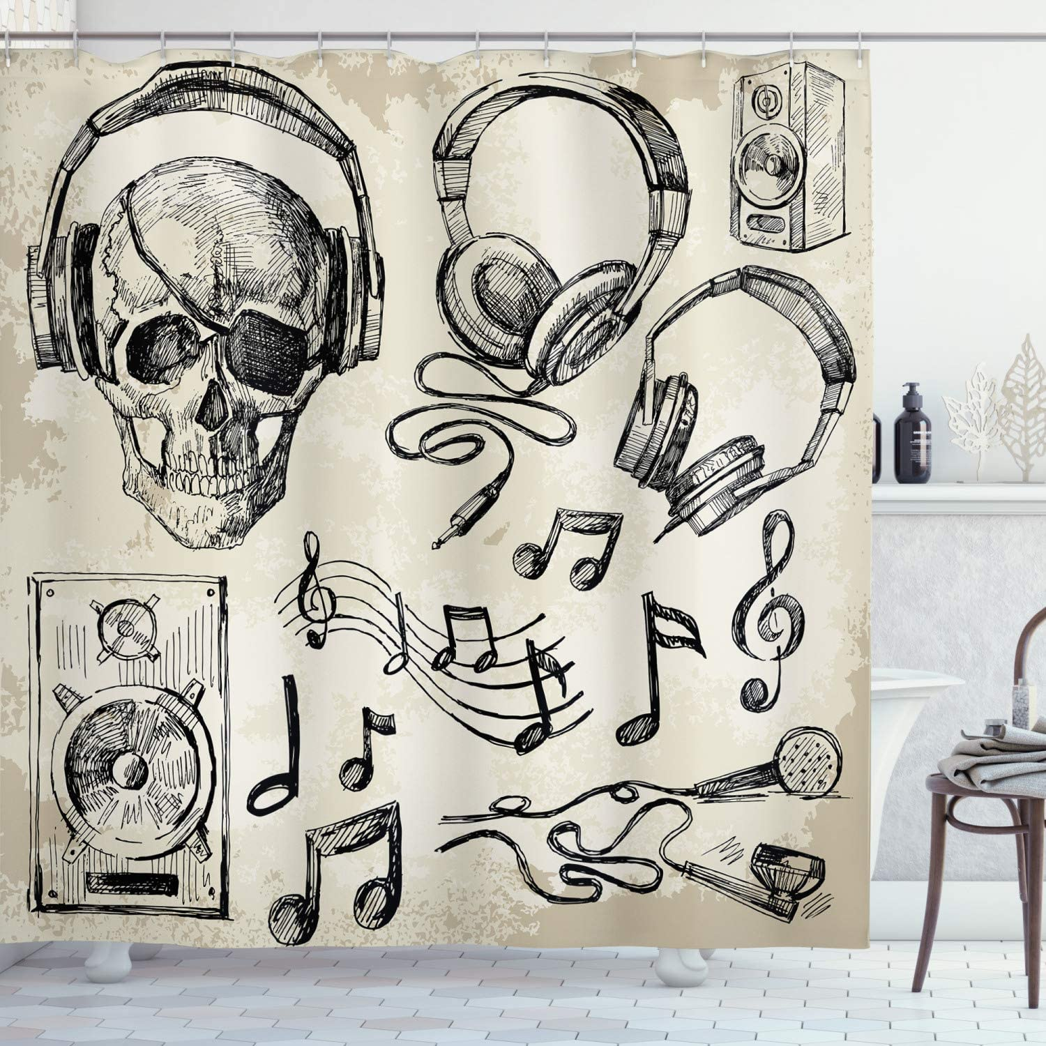 Ambesonne Music Shower Curtain Sketchy Background Hipster Skull Headphones Record Player Mic Speakers Print Cloth Fabric Bathroom Decor Set With Hooks 75 Long Beige Black Home Kitchen