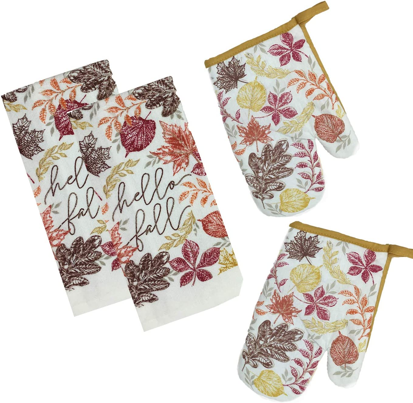 Fall Harvest Thanksgiving Kitchen Towels and Oven Mitts - Bundle of 4 Items: 2 Dish Towels and 2 Oven Mitts (Glitter Leaves-Hello Fall)