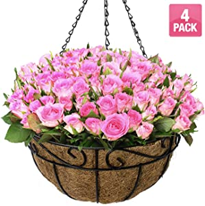 Sorbus 4 Pack Metal Hanging Planter Basket Huge 14 Inch Hanging Flower Pot Basket & Coco Coir Liner for Indoor/Outdoor Garden Décor, Perfect for Home, Garden, Patio, Deck